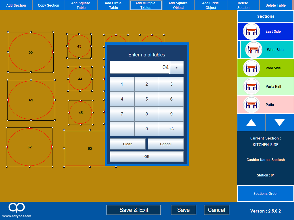Multi outlet bill management software with touchscreen